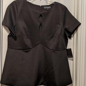 Eloquii Peplum Top in Black size 18w
